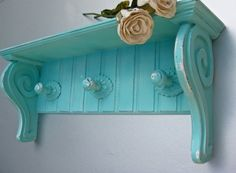 Swede13 › Hooks, Racks, Shelves  Shabby Aqua Shelf, Hooks, Beach Cottage, Wooden Shelf, Turquoise Decor, Organization, Rustic Farmhouse, French Country,Cottage Chic
