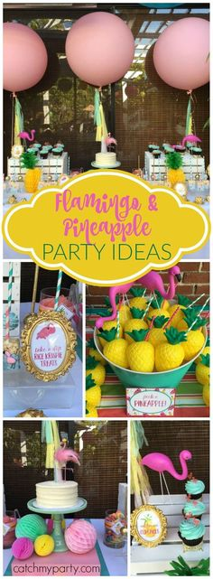 Isn't this poolside flamingle bash so perfect for summer?! See more party ideas at Catchmyparty.com!