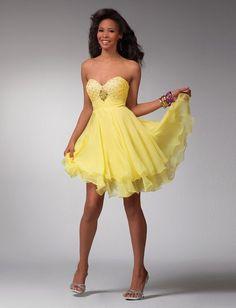 vestidos de festa curtos amarelos - Pesquisa Google