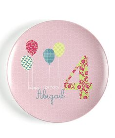 Pink Birthday Balloon Personalized Plate by Dylbug on #zulily