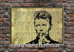 David Bowie Poster/David Bowie Wall Art/Famous Singer Print/Retro Poster/Book Page/Dictionary Page Print/Quote Poster Quote Posters, Quote Prints, Wall Prints, Book Page Art, Book Pages, As You Like, Just In Case, David Bowie Poster, Frame Download