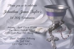 1st Holy Communion Invitations Host No Pictures Invitation - Digital Download - Get these invitations RIGHT NOW. Design yourself online, download and print IMMEDIATELY! Or choose my printing services. No software download is required. Free to try!