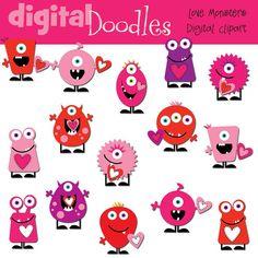 INSTANT DOWNLOAD Love Monsters digital clip art via Etsy