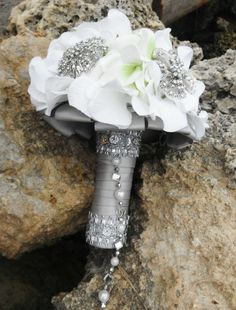 White Bridal Bouquet with Silver and Pearl by AngelicasBridal, $280.00