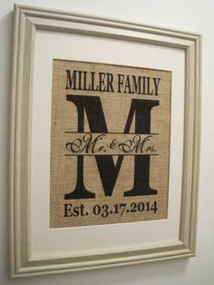 Reception Decor: Burlap Monogram Wedding Gift Burlap Wedding by SunBeamSigns, on etsy $21.00. Cute to display, and we could put it in our house afterwards. Maybe a DIY idea too!
