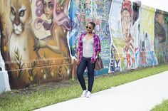 Casual Outfit with Plaid shirt over t-shirt |
