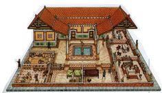 Vivienda Romana -Domus Ancient Roman Houses, Ancient Rome, Roman Architecture, Ancient Architecture, Conan Exiles, Rome City, Courtyard House Plans, Floating House, Driveways