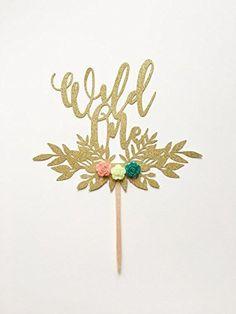 1 pc WILD ONE script fonts flower roses floral wreath bohemian boho tribal native Theme Gold Glitter Cake Topper for Birthday Baby Shower
