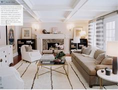 Love coffered ceiling and neutral palette