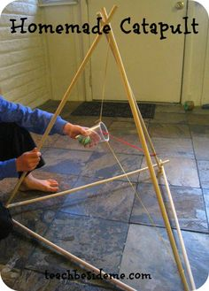 homemade catapult for the Girl Scouts Entertainment Technology Junior badge or woodworking Cadette badge