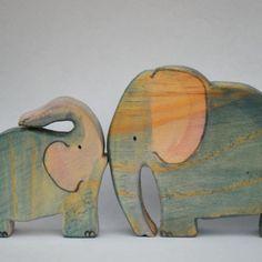 Pareja de Elefantes de madera | Ikuna