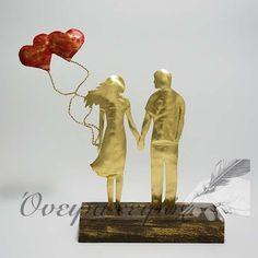 Δώρο επετείου, Ζευγάρι με κόκκινα μπαλόνια καρδιές www.oneiraxeiris.gr Metal Art, Handicraft, Jewerly, Decoupage, Movie Posters, Gifts, Wedding, Painting, Decor