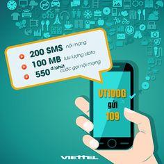 Viettel khuyến mãi đầu tuần gói cước VT100G, 250 SMS nội mạng, 100MB tốc độ cao, cước cuộc gọi nội mạng 550đ/phút. Đăng ký gói cước VT100G của Viettel 3000đ