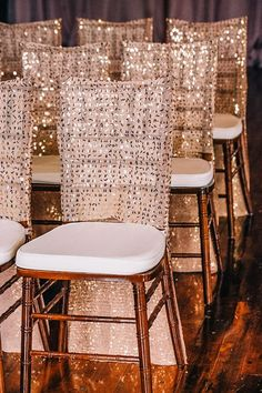 Gorgeous chair covers with sparkly gold sequins - wedding decor Wedding Chair Decorations, Wedding Chairs, Wedding Table, Our Wedding, Wedding Chair Covers, Gold Chair Covers, Fall Wedding, Wedding Reception, Wedding Stuff
