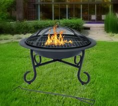 Garden Fire Pit Outdoor Camping Heater Patio Fireplace Firepit Mesh Cover BBQ