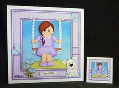 8 x 8 Cute Little Teen is Swinging High Mini Kit with 3d Decoupage - Gallery | Craftsuprint