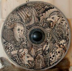 Viking Shield Odin by ZawArt equipment gear magic item Viking Life, Viking Art, Viking Decor, Ancient Vikings, Norse Vikings, Viking Sheild, Renaissance, Viking Culture, Shield Design