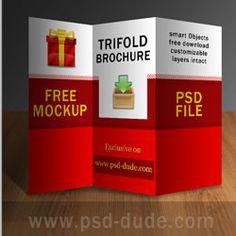 TriFold Brochure Mockup Free PSD Tri Fold Brochure Tri Fold - Photoshop tri fold brochure template free