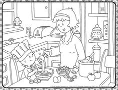 Cooking with Caillou Coloring Sheet! Colouring Pages, Coloring Sheets, Picture Comprehension, Muslim Family, Basic Drawing, Caillou, Homekeeping, Picture Description, Black And White Pictures