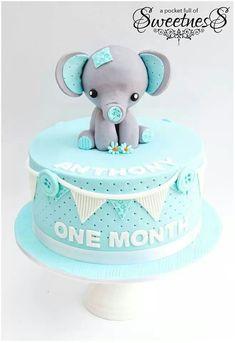 Baby elephant cake // Tarta de bebé elefante