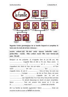 Exercice compréhension écrite la famille (A1)