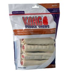 Kong Double Chews Bacon flavor for dogs are natural, long-lasting rawhide chews. Made with 100% natural U.S. beef hides. Helps clean teeth and freshens breath.