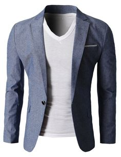 FLATSEVEN Mens Fashion Linen Blazer of Various Colors Single Button