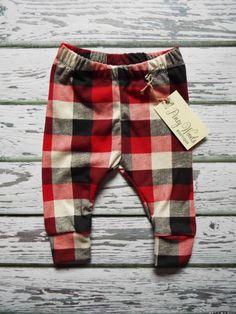 Red Black and Cream Buffalo Plaid Leggings, Boys Leggings, Girls Leggings, Baby, Toddler, NB-5T