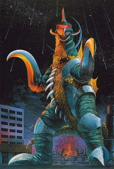 Gigan returned in Godzilla vs. Megalon, as he was called by the Seatopians to help them conquer Earth. He arrived to help Megalon battle Godzilla, and they nearly killed him. Jet Jaguar attacked Gigan, but he was also defeated. The two monsters regained their strength, and they fought Gigan and Megalon off again. Gigan retreated back to space, and Megalon returned to Seatopia.
