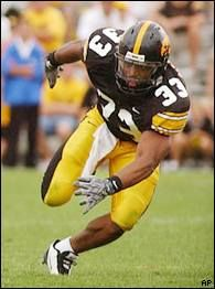 Bob Sanders   Sanders played defensive back for the Iowa Hawkeyes from 2000 to 2003. He ranks seventh in career tackles with 348. In 2001 Sanders had 25 tackles in a game against Indiana, which is the fourth best single game total at Iowa. Sanders also led the nation in forced fumbles and led the Big Ten in recovered fumbles. In his senior year at Iowa Sanders was named second team All-American. Sanders was the 44th overall pick in the 2004 NFL Draft, he went to the Indianapolis Colts.