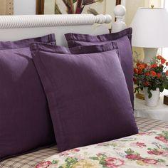 Ralph Lauren Purple Surrey Garden Hemstitch Bedroom Pillow Sham Euro NEW $185  #RalphLauren