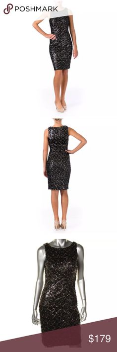 """🆕BLACK SEQUINED KNEE-LENGTH COCKTAIL DRESS Breathtaking black sequined knee-length cocktail or prom dress by Sue Wong. Brand new, with tags.  Size 2 Sleeveless  Hidden Side Zipper Padded Bust Length 38 1/2"""" Bust 14"""" Waist 13"""" 100% Polyester   Please comment with any questions and feel free to make an offer with the blue button! ⭐️ Purchase by noon EST and item(s) ship the same day!  Bundle items and save, just click the three dots in right hand corner💕 Sue Wong Dresses Midi"""