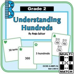 "This set of 36 cards will help students understand groups of 100 and ways to represent hundreds (CCSS 2.NBT.1b). The ""2B"" in the title stands for Grade 2, Base 10 domain. Also see dozens of other card sets to use for matching activities. ~by Angie Seltzer"