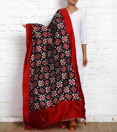 Red, Black & White Telia Rumal Silk Saree