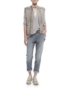 -5HS3 Brunello Cucinelli Monili Chain-Wrapped Necklace, Perforated Flower Mink Fur Top, Snap-Front Cardigan W/ Arched Hem, Sleeveless Hidden-Placket Silk Henley Blouse & Button-Fly Jeans W/ Rolled Cuffs
