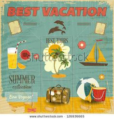 stock vector : Summer Card in retro Style. Vintage Vacation Postcard with Summer Items in Old Style. Vector Illustration.