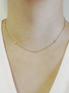 JSV Concept Diamond Bezel Set Necklace Diamond by Yard 7 Bezel Diamond Necklace Minimalist Necklace ≫ Product Details ◈ Handmade in USA ◈ Diamond: 100% Natural