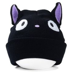 Chic Cartoon Eyes Embroidery and Cat Ear Shape Embellished Knitted Beanie For Women-4.00 and Free Shipping