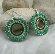 Sterling Silver Hoop Dangle Beadwork Earrings by Sigalsart On Etsy, via Flickr