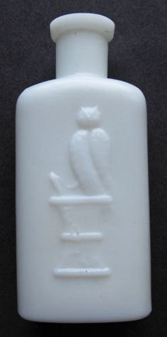 WHITE Milk Glass OWL DRUG Co Antique Bottle w/ pic Owl on druggist mortar. Old hand-blown Cosmetic type bottle.