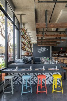 Bandidos, A Sleek Mexican Cantina in the Castro - Eater Inside - Eater SF coloured stools Cafe Bar, Cafe Restaurant, Mexican Restaurant Design, R Cafe, Restaurant Interior Design, Modern Restaurant, Mexican Bar, Colorful Restaurant, Mexican Restaurants