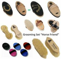 "Natural Horse Grooming Brush Kit ""Horse Friend"" Great site for brushes"