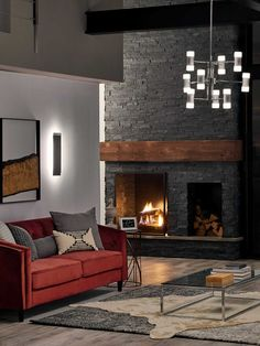 Shop this elan vey polished nickel wide glass led medium chandelier from our top selling Elan chandeliers. LuxeDecor is your premier online showroom for lighting and high-end home decor. Cabin Fireplace, Slate Fireplace, Fireplace Remodel, Living Room With Fireplace, Fireplace Surrounds, Fireplace Design, Black Fireplace Surround, Fireplace Ideas, Tiled Fireplace Wall