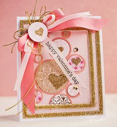 Happy Valentines Day card by Michele Kovack for Scrapbook Adhesives by 3L Blog, with glittery dimension using 3D Foam Hearts and 3D Foam Frames. Tutorial w/lots of pictures! https://www.scrapbook-adhesives.com/blog/2015/02/10/happy-valentines-day-2/