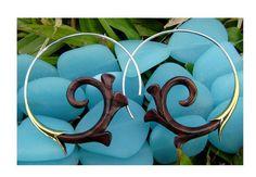 Fake Gauge Earrings - NEW koa wood  Tribal Hand Made Fake Piercings Organic on Etsy, $22.00