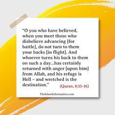 leaving battlefield is the biggest sin in Islam. #Islam #Quran #Hadith #Allah #Muhammad Islamic Information, Islam Quran, Hadith, Muhammad, Forgiveness, Allah, Women, Women's, God