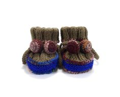 Knitted Baby Booties  Brown and Blue 0  3 by SasasHandcrafts
