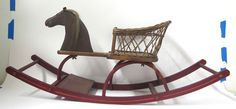 Antique Child's Rocking Horse Chair Shoofly Wicker Chair Real Hair Iron Eyes Yqz