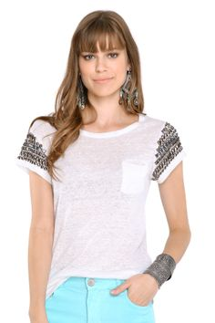 blusa manga pedraria - Blusas e T.shirts | Dress to