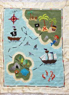 Pirate Treasure Map Crochet Baby Blanket by NataliaRodeheffer